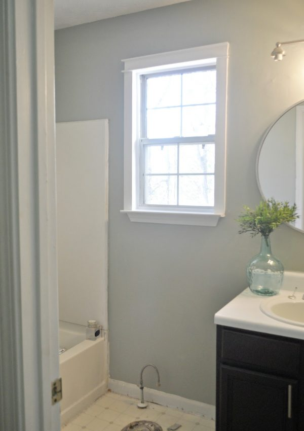 Guest Bathroom Update #2: Trim and Mirror Sneak Peek
