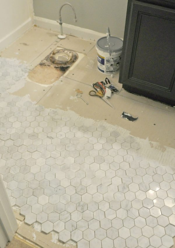 Guest Bathroom Update #3: How To Install Backer Board and Mosaic Marble Floor Tile