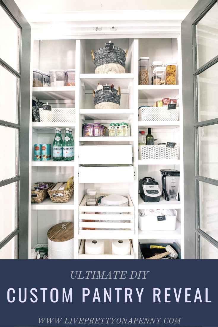 A budget friendly custom pantry reveal. This will help you keep an organized and functional space. You won'e believe the before!
