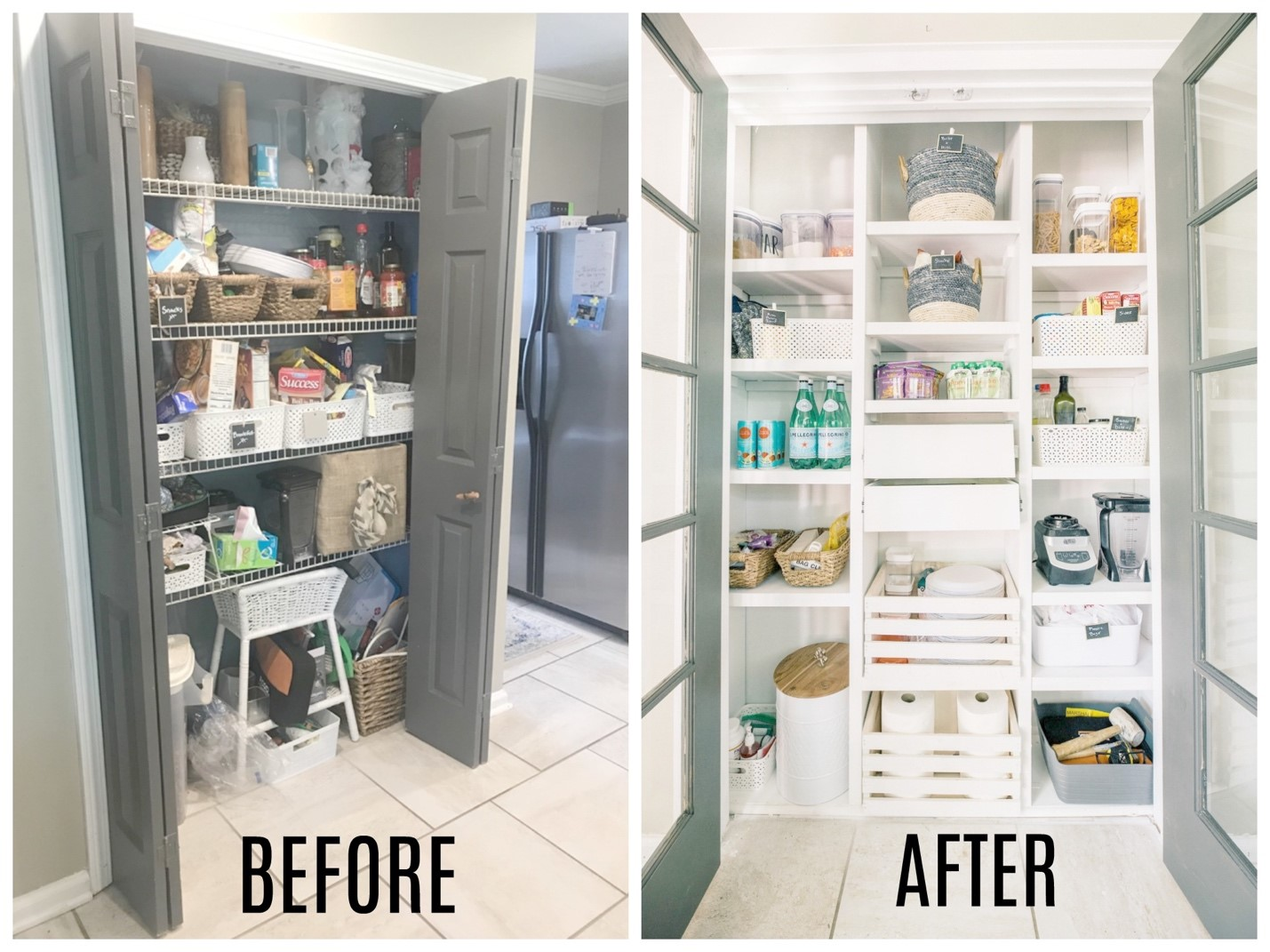 DIY custom pantry before and after