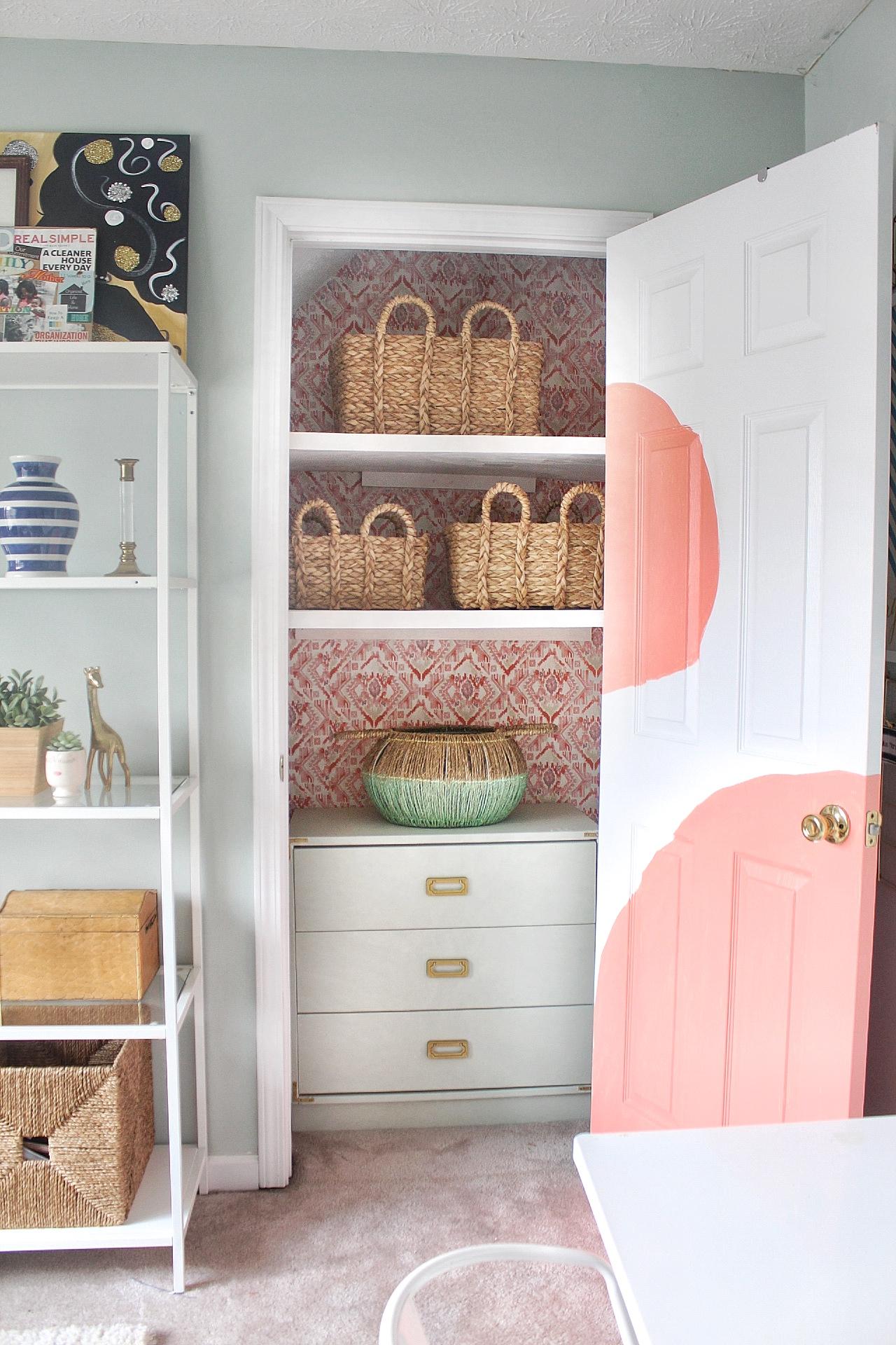 wallpaper in closet-budget closet makeover