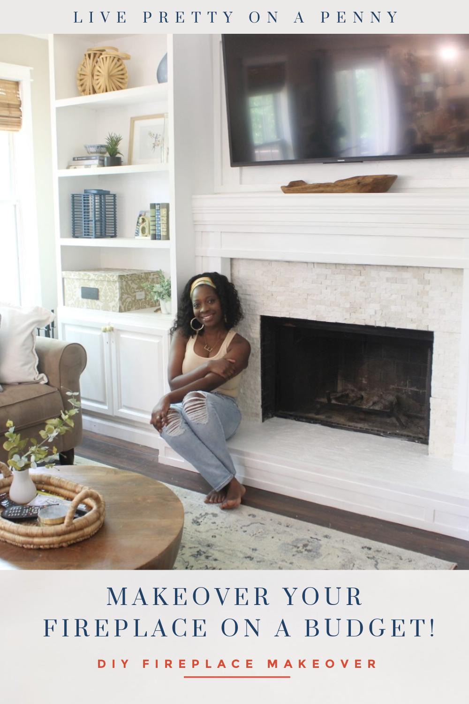 Budget DIY Fireplace Makeover