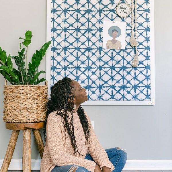 DIY Oversized Fabric Covered Cork board