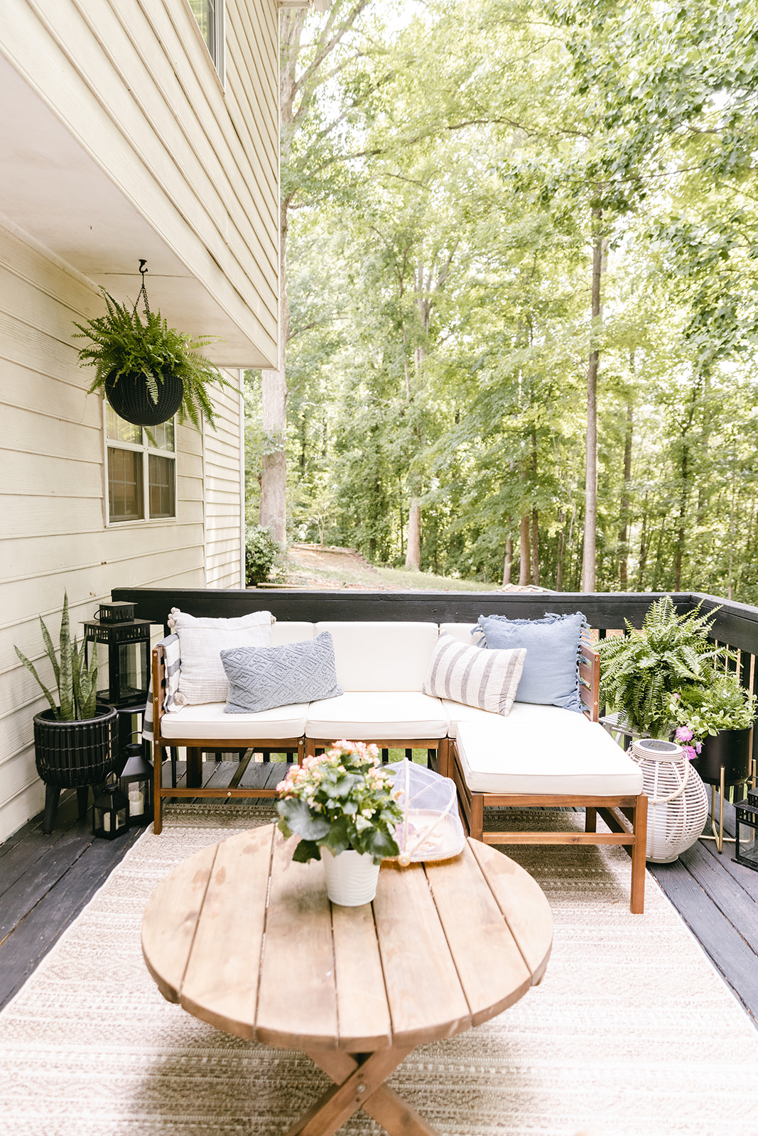 deck makeover with black stain