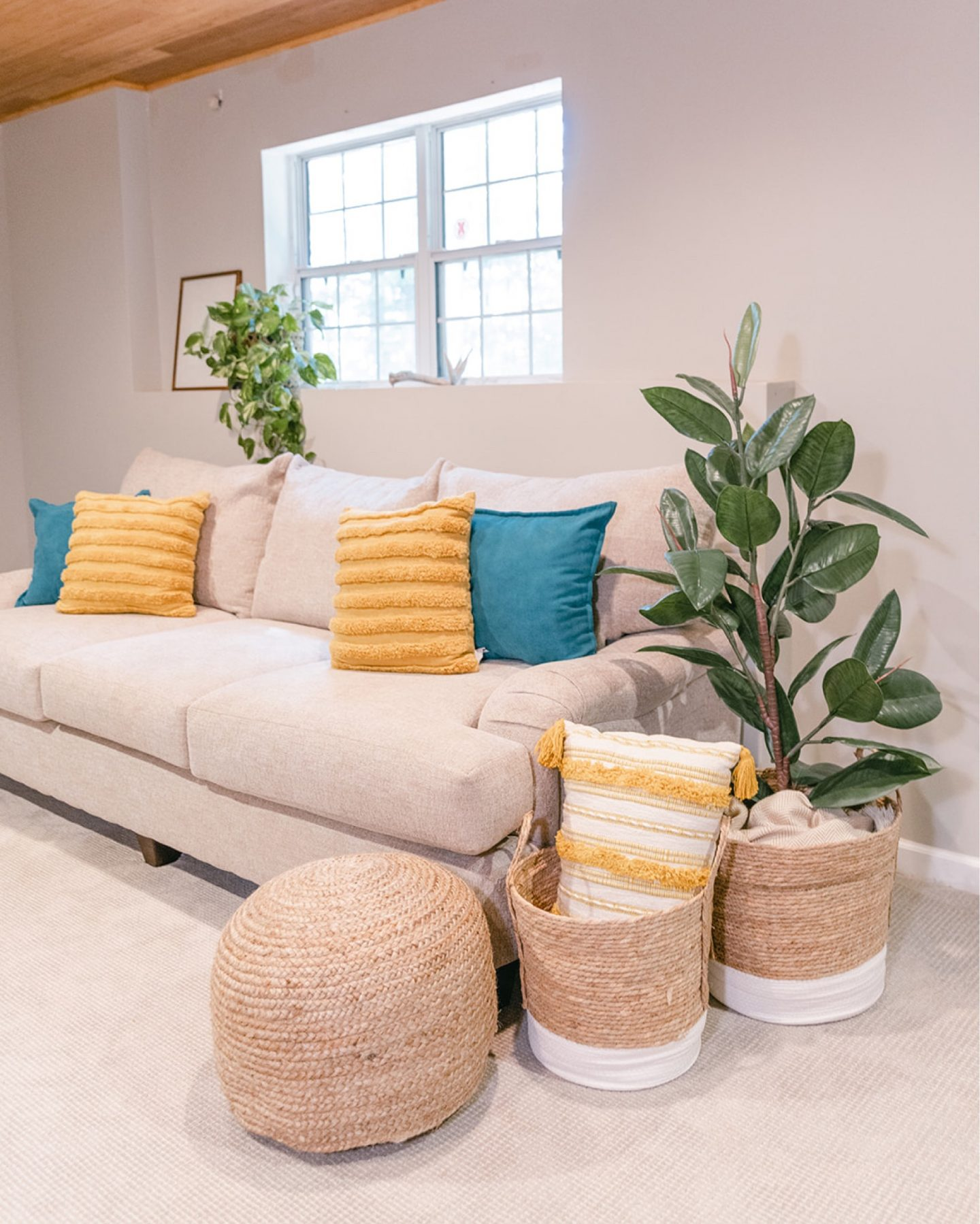 bright and playful basement decor